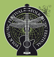 folk music festival poster or banner with guitar vector image vector image
