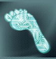 footprint in form technological circuit vector image
