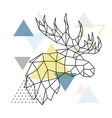 geometric moose silhouette on triangle background vector image vector image