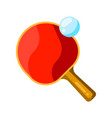 icon table tennis racket and ball in flat style vector image vector image