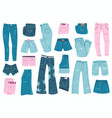 jeans clothes denim trousers shorts and skirt vector image