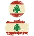 Lebanese round and square grunge flags vector image vector image