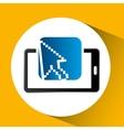 mobile phone icon cursor social media vector image vector image