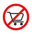 no shopping cart sign on white background vector image vector image