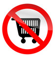 no shopping symbol ban cart icon vector image vector image