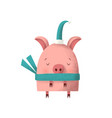pig in a santa green cap and scarf vector image vector image