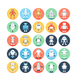 Robots Colored Icons 2 vector image vector image