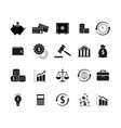 set black finance money icons vector image