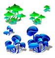 set growing bright neon mushrooms isolated on vector image