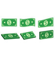 set icons money dollar flat and 3d bundle of cash vector image vector image