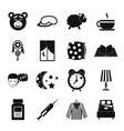 sleep icons set simple style vector image vector image