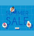 summer sale banner women in swim suits lying on vector image vector image