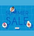 summer sale banner women in swim suits lying vector image vector image