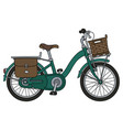 the classical green bicycle vector image vector image
