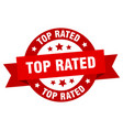 top rated ribbon top rated round red sign top vector image vector image