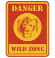 warning sign danger signal with lion vector image vector image
