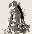 woman with a cowboy hat cowboy girl riding horse vector image