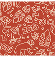 Seamless pattern with monkeys symbol of the 2016 vector image