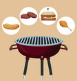 color background with grill barbecue with icons vector image