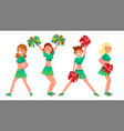 female cheerleader different poses vector image