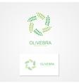 logo green branch arranged in a circle vector image