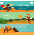 people on summer vacation horizontal banners with vector image