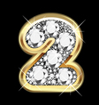2 number gold and diamond vector image