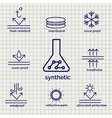 Modern syntetic fabric feature sketch icons vector image