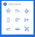 9 aircraft icons vector image vector image