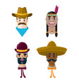 american wild west flat people icon set vector image