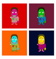 assembly flat zombie men vector image vector image