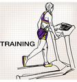 Athletic woman on gym class walk treadmill runni vector image vector image