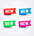 bright new labels set colorful flag collection vector image