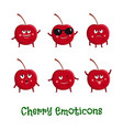 cherry smiles cute cartoon emoticons emoji icons vector image vector image
