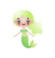 cute smiling mermaid girl with light green wavy vector image vector image