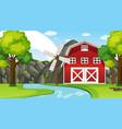 farm landscape scene with barn and windmill vector image