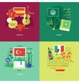 Flat design concept icons for foreign languages vector image