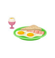 flat design of boiled egg in pink cup vector image vector image