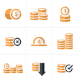 Flat icon Coins Icons Set Design blacak color vector image vector image