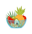 fresh ripe fruits in a glass bowl healthy vector image vector image