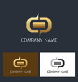 gold shape round company logo vector image vector image