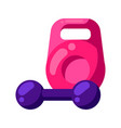 icon kettlebell and dumbbell in flat style vector image vector image