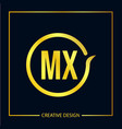 initial letter mx logo template design vector image