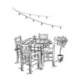 italian bistro cosy cafe table and chairs vector image vector image