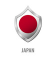 japan flag on metal shiny shield vector image