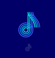 logo music blue note four lines vector image