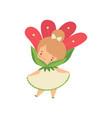 lovely little girl wearing red flower costume vector image vector image