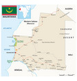 mauritania road map with flag vector image