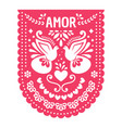 mexican papel picado fiesta banner card vector image