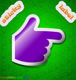 pointing hand icon sign Symbol chic colored sticky vector image vector image